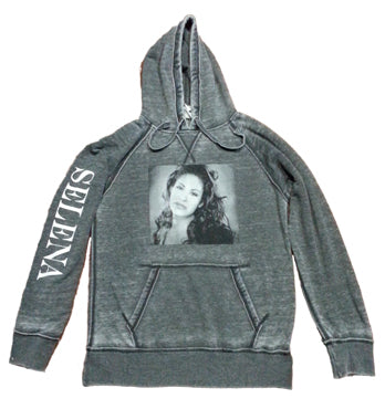 Gray Pullover Hoodie with Selena Picture and Selena Text on Sleeve