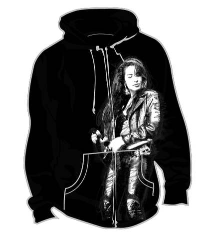 SELENA SKETCH ZIPPER HOODIE (YOUTH - BLACK)
