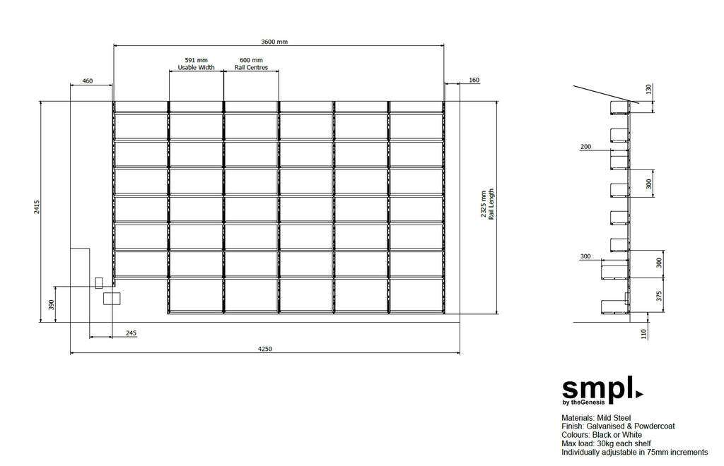 Dimensioned drawing of smpl shelving system on wall of house