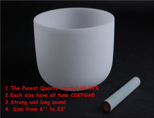 "10"" , 12"" and 14"" diameter 3 pieces Frosted Quartz Crystal Singing Bowls with one free suede stick and o-ring - Samsara Online"