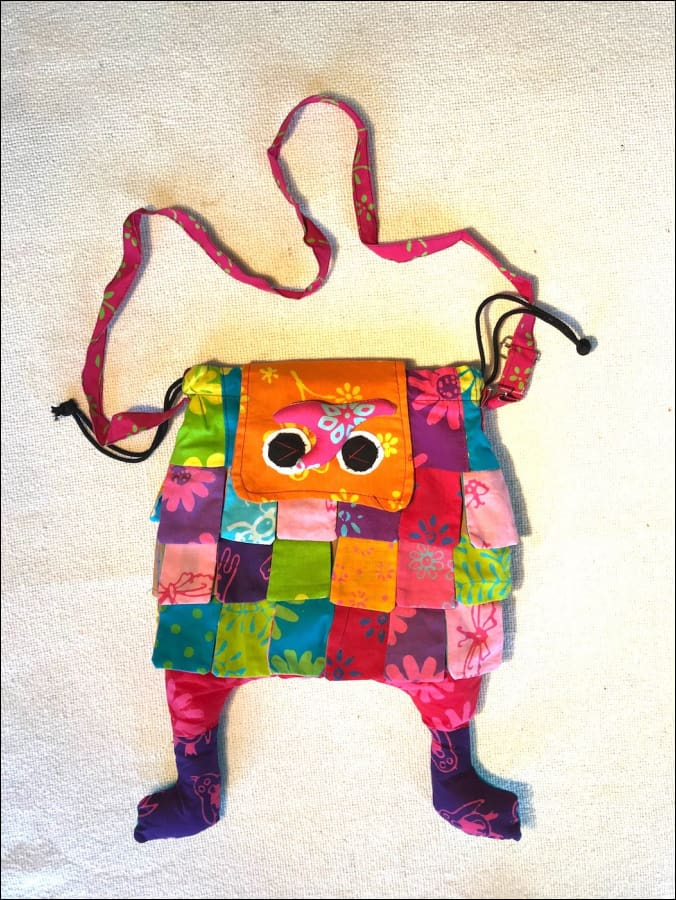 20cmx30cm (large size) cotton handmade kids bag with shoulder strap, velcro closure, lined, click to choose large or small - Samsara Online