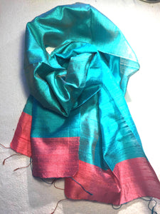 Beautiful handwoven pure silk scarf from Cambodia in aqua blue and pink, 140cmx40cm