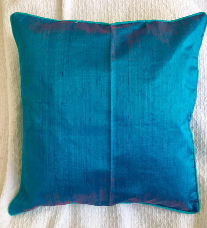 Turquoise aqua pure silk cushion cover 38cmx38cm handwoven in Cambodia with zip.