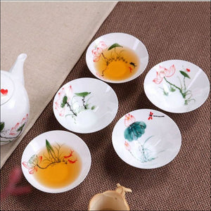 5 Pcs/set Chinese Ceramic Cups For Tea Fine Porcelain Hand Painted 30Ml Capacity