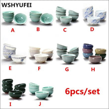6 pcs/set Chinese Ceramic Tea Cup Ice Cracked Glaze Cup Kung Fu teaset Small Porcelain Tea Bowl Teacup Tea Accessories Drinkware - Samsara Online