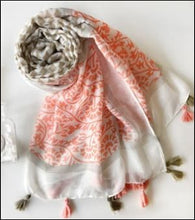 80x175cm pink cotton scarf with tassels - Samsara Online