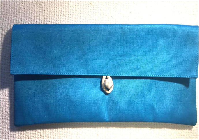 Aqua pure silk clutch bag purse, lined with toggle closure. 22cmx12cm - Samsara Online