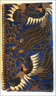 Beautiful Balinese hand printed brown on a blue background batik cotton sarongs - Samsara Online