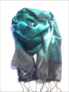 Beautiful handwoven pure silk scarf from Cambodia, 140cmx40cm in turquoise blue and dark grey black - Samsara Online