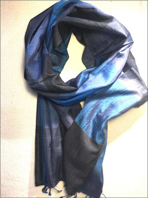 Beautiful handwoven pure silk scarf from Cambodia in jewel colours of blue and black, with fringe 140cmx47cm - Samsara Online
