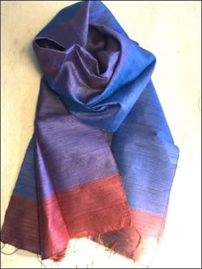 Beautiful handwoven pure silk scarf from Cambodia in jewel colours of blue, purple, and dark pink 140cmx40cm - Samsara Online