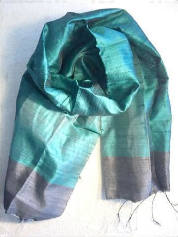 Beautiful handwoven pure silk scarf from Cambodia in jewel colours of turquoise teal blue and black and pearl 140cmx40cm - Samsara Online