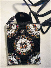 Beautiful small handmade beaded evening bag, lined with a shoulder strap and clip closure. - Samsara Online