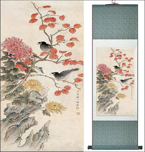 Bird and flower traditional Chinese silk scroll painting - Samsara Online