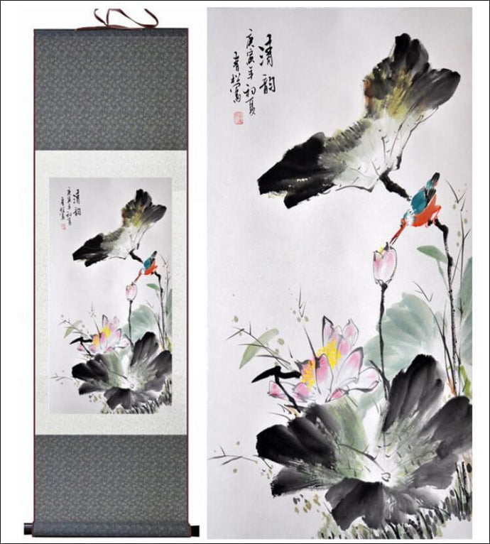 Birds and flower traditional Chinese silk scroll painting OAE - Samsara Online