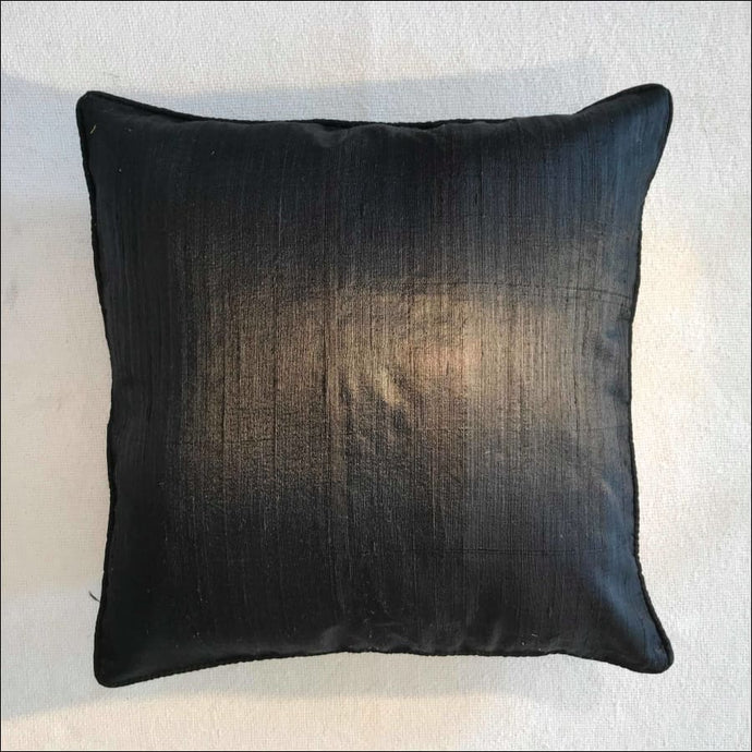 Black blue pure silk cushion cover 38cmx38cm handwoven in Cambodia with zip. - Samsara Online