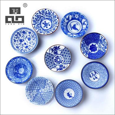 Blue and white Japanese style porcelain tea cups 100ml capacity, click to choose design - Samsara Online