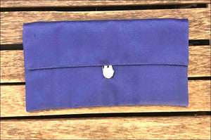 Blue silk clutch bag, lined, 22cmx12cm with toggle closure. - Samsara Online