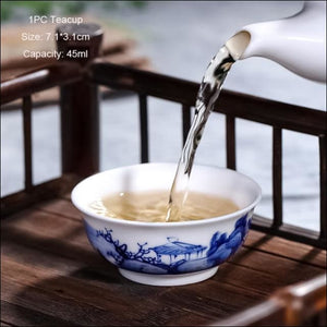 Boutique Jingdezhen Blue and White Porcelain Hand painted Landscape Tea Cup China Ceramic Kung Fu Tea set Teacup 80ml Master Cup - Samsara Online