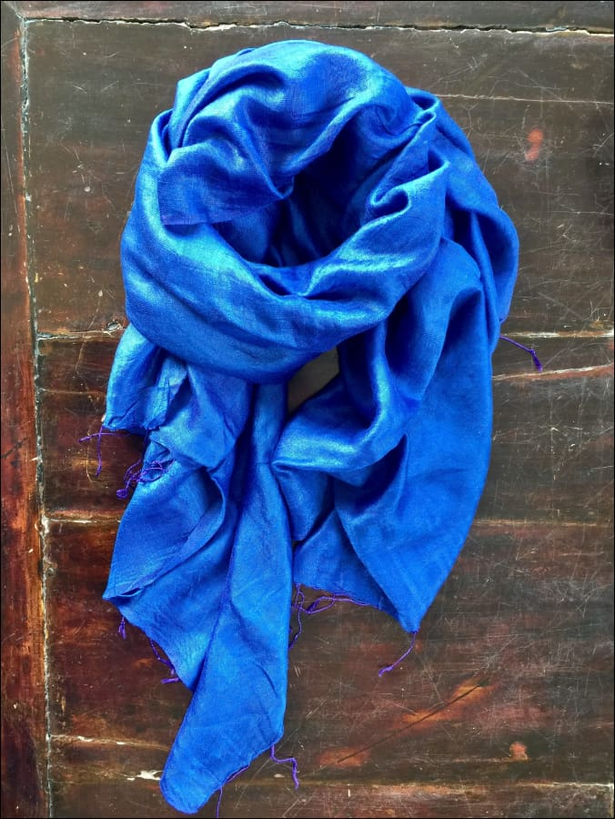 Bright blue pure silk scarf from India, 220cmx60cm, with fringe - Samsara Online