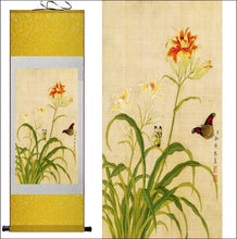 Butterfly and flowers traditional Chinese scroll painting click image to choose background colour OAE - Samsara Online