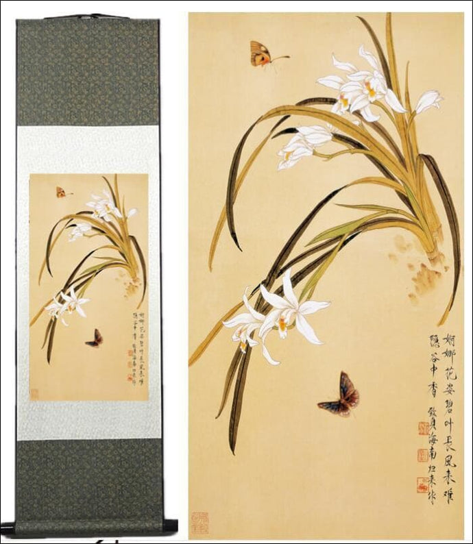 Butterfly and flowers traditional Chinese silk scroll painting OAE - Samsara Online