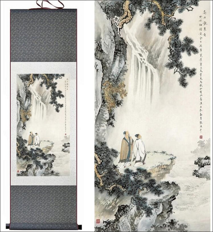 Chinese silk scroll painting traditional landscape OAE - Samsara Online