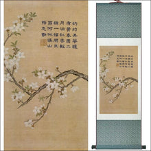 Chinese traditional silk scroll painting calligraphy and flower blossom OAE - Samsara Online