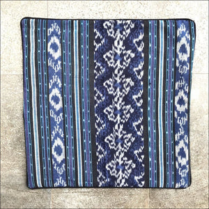 Cotton Ikat handwoven 50cm square cushion cover in blues piped in black with black cotton backing - Samsara Online