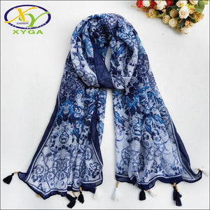 Cotton scarf 175cm blue with tassels - Samsara Online