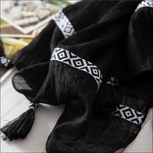 Cotton tassel scarves in black or white 175cm long click to choose colour - Samsara Online