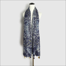 Cotton voile scarf 175cm long with tassels - Samsara Online