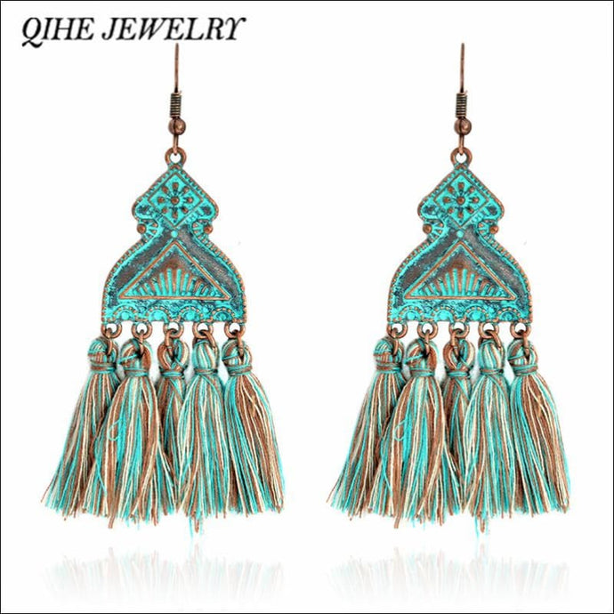 Dangle tassel boho earrings, very stylish OAE - Samsara Online