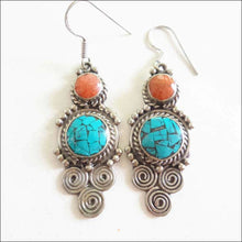 Ethnic Earrings Inlaid Stone from Nepal - Samsara Online