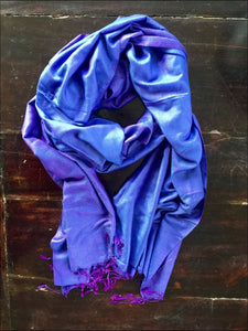 Gorgeous blue purple pure silk scarf from India, 220cmx60cm, with fringe - Samsara Online