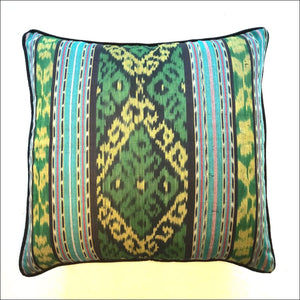 Gorgeous handwoven ikat cotton cushion cover from Bali 50cm square piped and backed with black cotton - Samsara Online