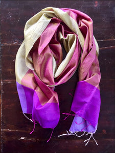 Gorgeous pinks and purples pure silk scarf, 175cmx47cm, fringed - Samsara Online