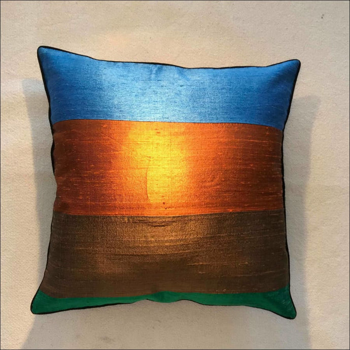 Gorgeous striped pure silk cushion cover 38cmx38cm handwoven in Cambodia with zip and piping. - Samsara Online