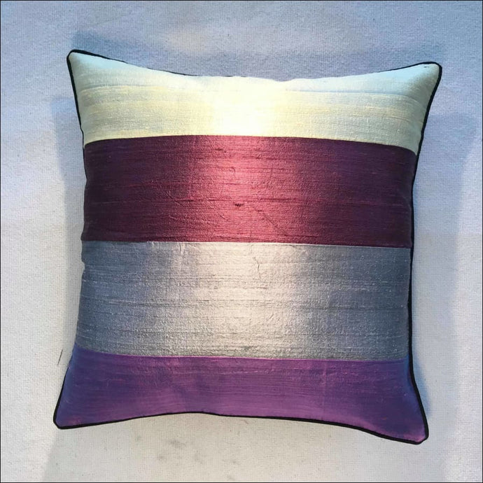 Gorgeous striped pure silk cushion cover 38cmx38cm handwoven in Cambodia with zip and piping - Samsara Online