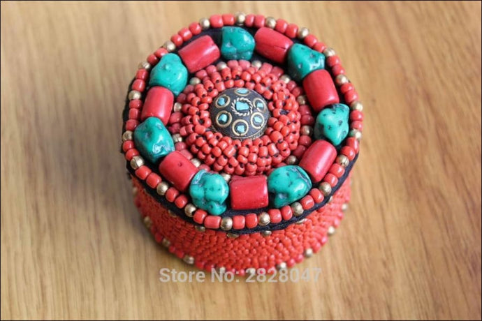 Hand sewn  genuine turquoise and coral beads little box OAE, 6cm across 4.5 cm high - Samsara Online