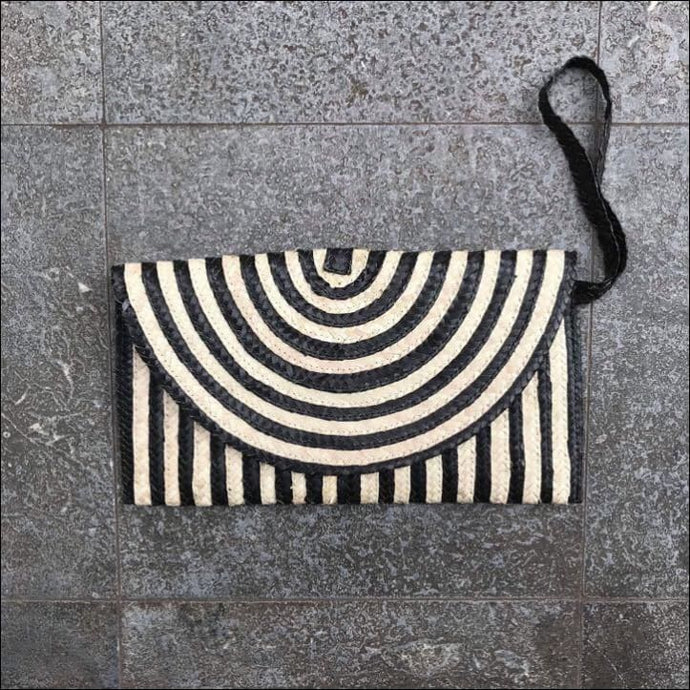 Handmade palm leaf striped black clutch bag from Bali, lined, snap closure, with strap and zip internal pocket 16cmx27cm, lots of colours available in striped and plain - Samsara Online