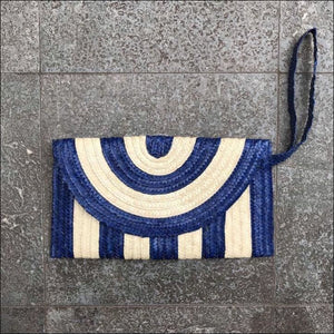 Handmade palm leaf striped blue and natural colour clutch bag from Bali, lined, snap closure, with strap and zip internal pocket 16cmx27cm - Samsara Online