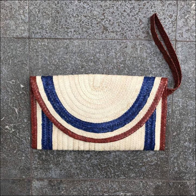Handmade palm leaf striped blue, brown, natural colour clutch bag from Bali, lined, snap closure, with strap and zip internal pocket 16cmx27cm - Samsara Online