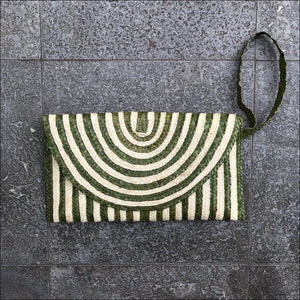 Handmade palm leaf striped green and natural colour clutch bag from Bali. - Samsara Online