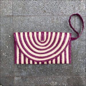 Handmade palm leaf striped purple and natural colour clutch bag from Bali, lined, snap closure, with strap and zip internal pocket 16cmx27cm - Samsara Online