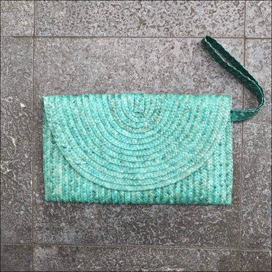 Handmade palm leaf turquoise clutch bag from Bali, lined, snap closure, with strap and zip internal pocket 16cmx27cm - Samsara Online