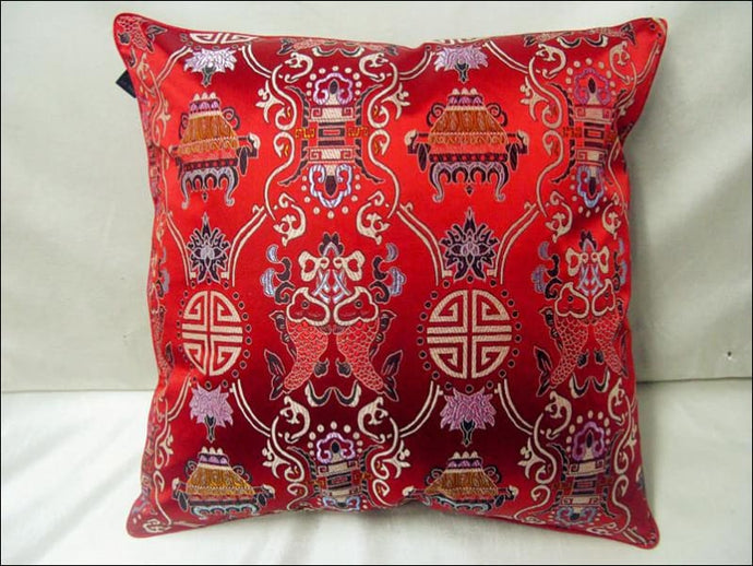 Handmade Pisces Fancy Cushion Cover Home Office Decorative 18 inch High Quality Smooth Silk Brocade Ethnic PillowCases - Samsara Online