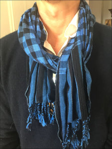 Handwoven checked cotton Krama scarf from Cambodia with tassel edge 30cmx140cm. Beautiful for men or women - Samsara Online