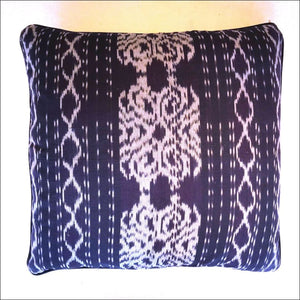 Handwoven ikat cotton cushion cover 50cmx50cm in dark indigo blue piped and backed with black cotton - Samsara Online