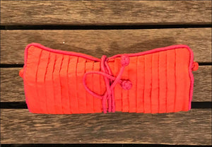 Handwoven pure silk jewellery pouch from Cambodia, red, 19cm wide by 27cm opened click to choose colour - Samsara Online